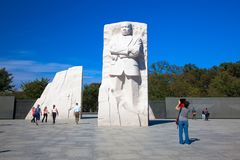 Monument Dr. Martin Luther King, Jefferson memorial at sunny day. The statue. USA, WASHINGTON DC royalty free stock photography