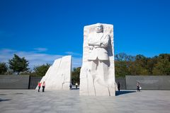 Monument Dr. Martin Luther King, Jefferson memorial at sunny day. The statue stock photo