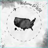 USA watercolor map in black colors. Royalty Free Stock Images
