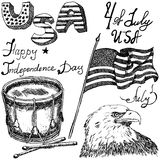 Usa waving flag, bald eagle and drum with drumstiks, American symbols, forth of july set, Hand drawn sketch, text happy independen Stock Image