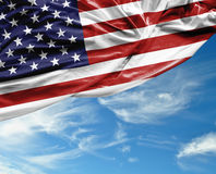 USA waving flag on a beautiful day Stock Photo