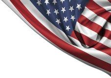 USA waving flag corner isolated. On white Stock Photography