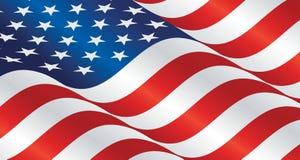 USA wavy flag landscape background. Vector banner Stock Images