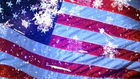 USA Weihnachtshintergrund, fallende Schneeflocken, verwischte Weihnachtshintergrund, guten Rutsch ins Neue Jahr stock video footage