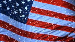 USA Weihnachtshintergrund, fallende Schneeflocken, verwischte Weihnachtshintergrund, guten Rutsch ins Neue Jahr stock video