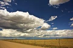 USA West Plains. Colorado-Kansas Border. Hot Summer Day. Horizontal Photo Stock Photo