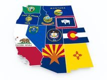 Usa west region flags on 3d map Royalty Free Stock Photo