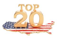 USA wierzchołka 20 pojęcie, 3D rendering Fotografia Royalty Free