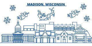 USA, Wisconsin, Madison winter city skyline. Merry Christmas and Happy New Year decorated banner. Winter greeting card Stock Image