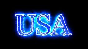 USA word blue color 4K video overlay. Word USA blue color 3D animation 4K video overlay stock video footage