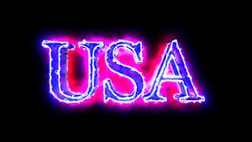USA word blue and red color 4K video overlay. Word USA blue and red color 3D animation 4K video overlay stock video footage