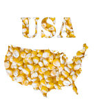 USA word and country map shaped with corn seeds Royalty Free Stock Photo