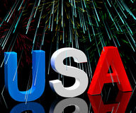 Usa Word And Fireworks As Symbol. Usa Word And Fireworks Symbol For America And Patriotism Royalty Free Stock Images