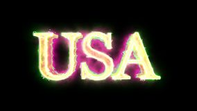 USA word green yellow pink color 4K video overlay. Word USA green yellow pink color 3D animation 4K video overlay stock footage