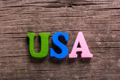 Usa word made of wooden letters Stock Images