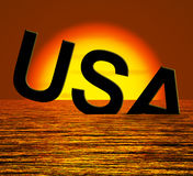 Usa Word Sinking As Symbol for American Problems Royalty Free Stock Images