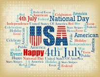 USA wordcloud / tagcloud. American national day related word cloud / tag cloud for 4th of July designs new vector illustration