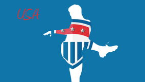 Usa world cup 2014 animation with player. In blue and white stock video footage