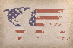 USA world map. Vintage world map with USA flag on paper craft (map from NASA Stock Photo
