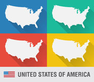 USA world map in flat style with 4 colors. Royalty Free Stock Photography