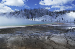 USA Wyoming Yellowstone National Park Grand Prismatic Spring mist over hot spring in winter landscape Royalty Free Stock Images