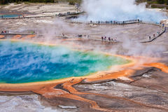 USA - Yellowstone NP - storslagen prismatisk pöl arkivfoton