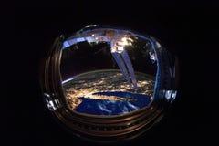 USA z miast światłami od ISS okno fotografia royalty free