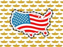 USA zakończeń granica z Meksyk Zatrzymuje sombrero Mapa Ameryka z Obrazy Stock