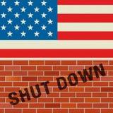 Usa zamknięcia ściany Polityczny rząd Zamykający Znaczy Krajowego Furlough royalty ilustracja