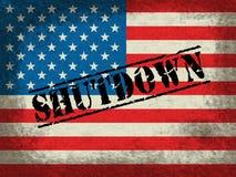 Usa zamknięcia flagi Polityczny rząd Zamykający Znaczy Krajowego Furlough ilustracji