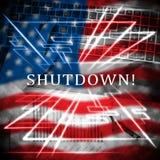 Usa zamknięcia flagi Polityczny rząd Zamykający Znaczy Krajowego Furlough ilustracja wektor