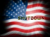 Usa zamknięcia flagi Polityczny rząd Zamykający Znaczy Krajowego Furlough royalty ilustracja