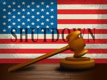 Usa zamknięcia młoteczka Polityczny rząd Zamykający Znaczy Krajowego Furlough ilustracja wektor