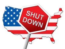 Usa zamknięcia mapy Polityczny rząd Zamykający Znaczy Krajowego Furlough ilustracji
