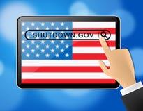Usa zamknięcia pastylki Polityczny rząd Zamykający Znaczy Krajowego Furlough ilustracja wektor