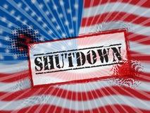 Usa zamknięcia Polityczny Stemplowy rząd Zamykający Znaczy Krajowego Furlough ilustracja wektor