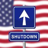 Usa zamknięcia Roadsign Polityczny rząd Zamykający Znaczy Krajowego Furlough royalty ilustracja