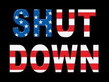 Usa zamknięcia słów Polityczny rząd Zamykający Znaczy Krajowego Furlough royalty ilustracja