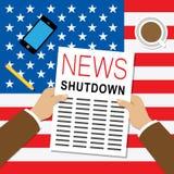 Usa zamknięcia wiadomości Polityczny rząd Zamykający Znaczy Krajowego Furlough ilustracji
