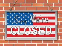 Usa zamknięcia Zmartwiony Polityczny rząd Zamykający Znaczy Krajowego Furlough ilustracji