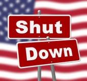 Usa zamknięcia znaków Polityczny rząd Zamykający Znaczy Krajowego Furlough ilustracji