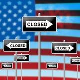 Usa zamknięcie Zamykający Polityczny rząd Zamykający Znaczy Krajowego Furlough ilustracja wektor