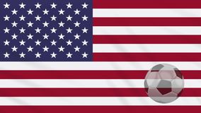 USA zaznacza falowanie i piłki nożnej piłka wiruje, pętla