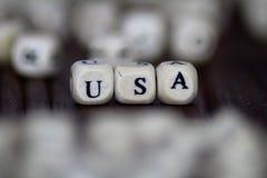 USA znak robić drewniani sześciany Obrazy Stock