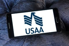 USAA company logo. Logo of USAA company on samsung mobile. The United Services Automobile Association, USAA is a Texas-based Fortune 500 diversified financial Royalty Free Stock Image