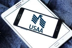 USAA company logo. Logo of USAA company on samsung mobile. The United Services Automobile Association, USAA is a Texas-based Fortune 500 diversified financial Stock Photography