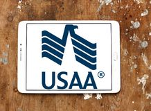 USAA company logo. Logo of USAA company on samsung tablet on wooden background. The United Services Automobile Association, USAA is a Texas-based Fortune 500 Stock Photo