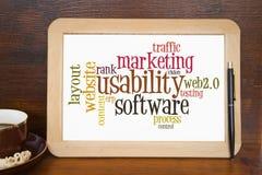 Usability. Blackboard with usability word cloud Royalty Free Stock Photos