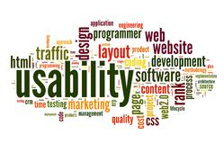 Usability concept in tag cloud Stock Photography