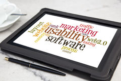 Usability. Tablet with usability software word cloud Stock Photography